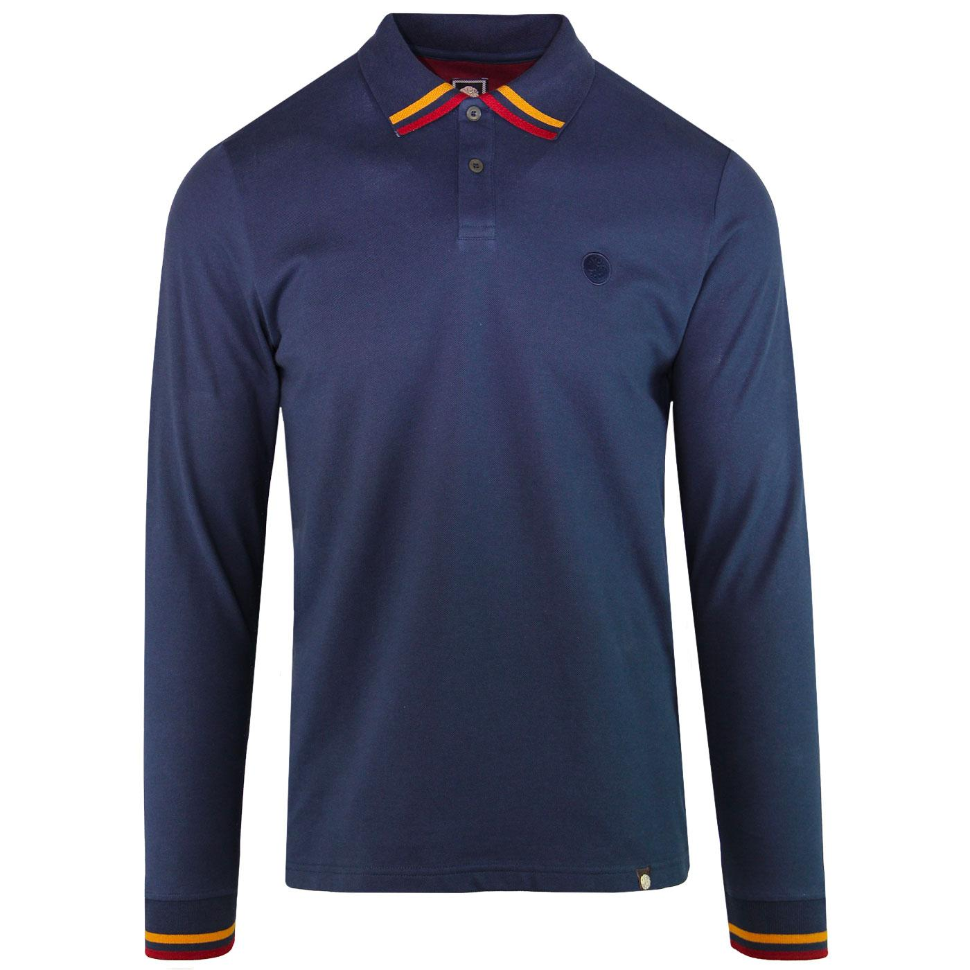 PRETTY GREEN Tipped Long Sleeve Mod Polo Shirt (N)