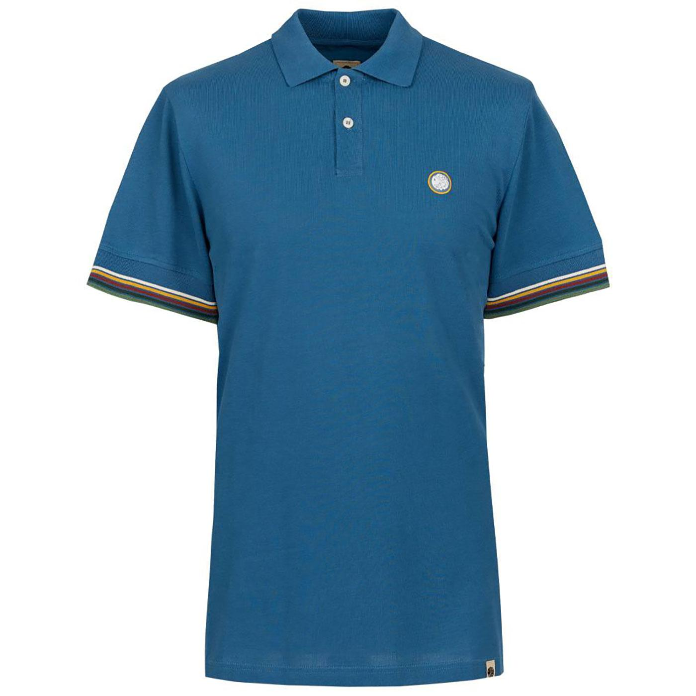 PRETTY GREEN Tipped Sleeve Pique Polo Shirt BLUE