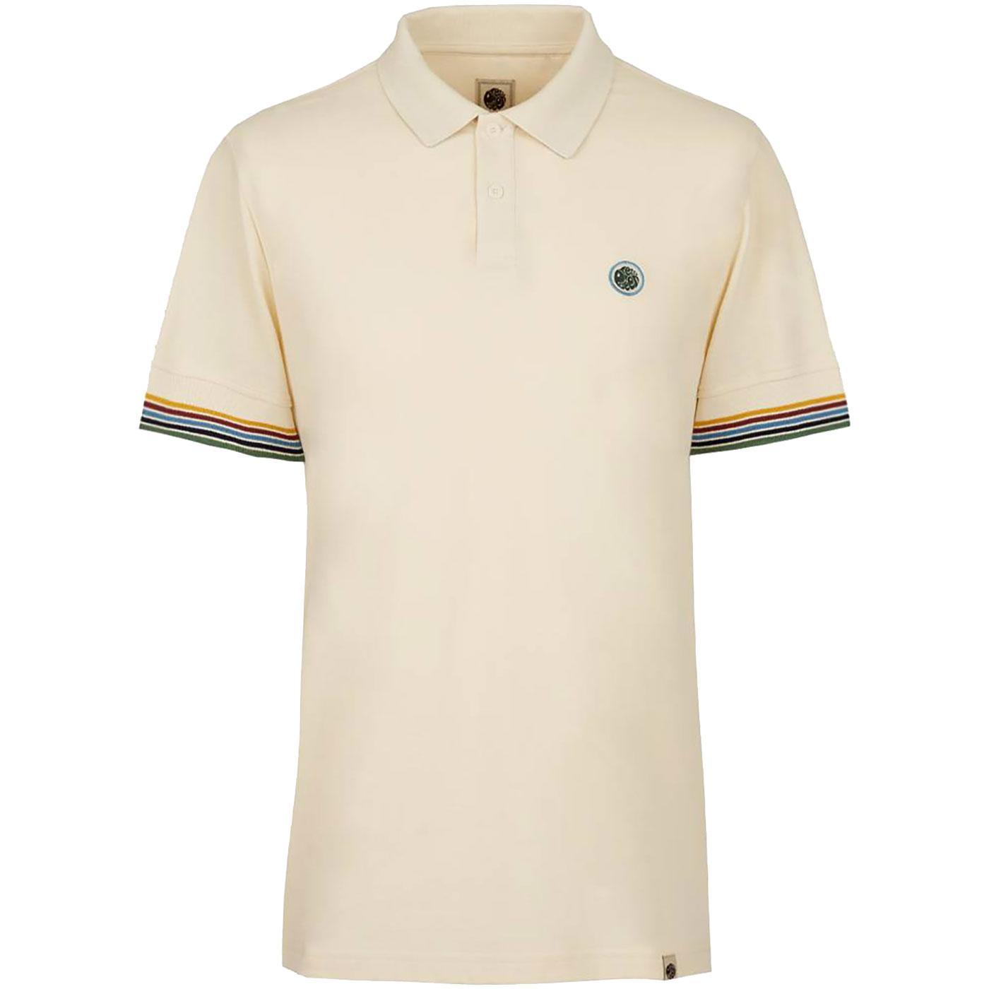 PRETTY GREEN Tipped Sleeve Pique Polo Shirt ECRU