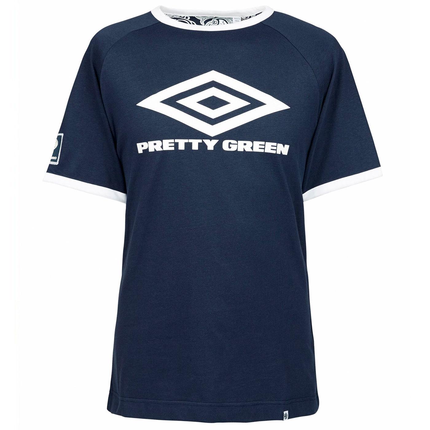 PRETTY GREEN X UMBRO Retro Indie Ringer Logo Tee