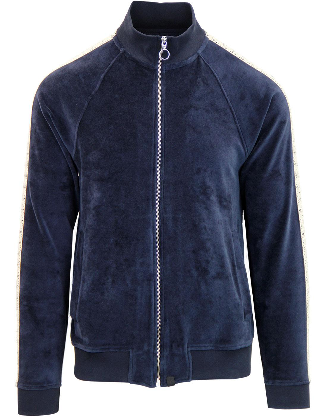 PRETTY GREEN Black Label Velour Lace Track Jacket