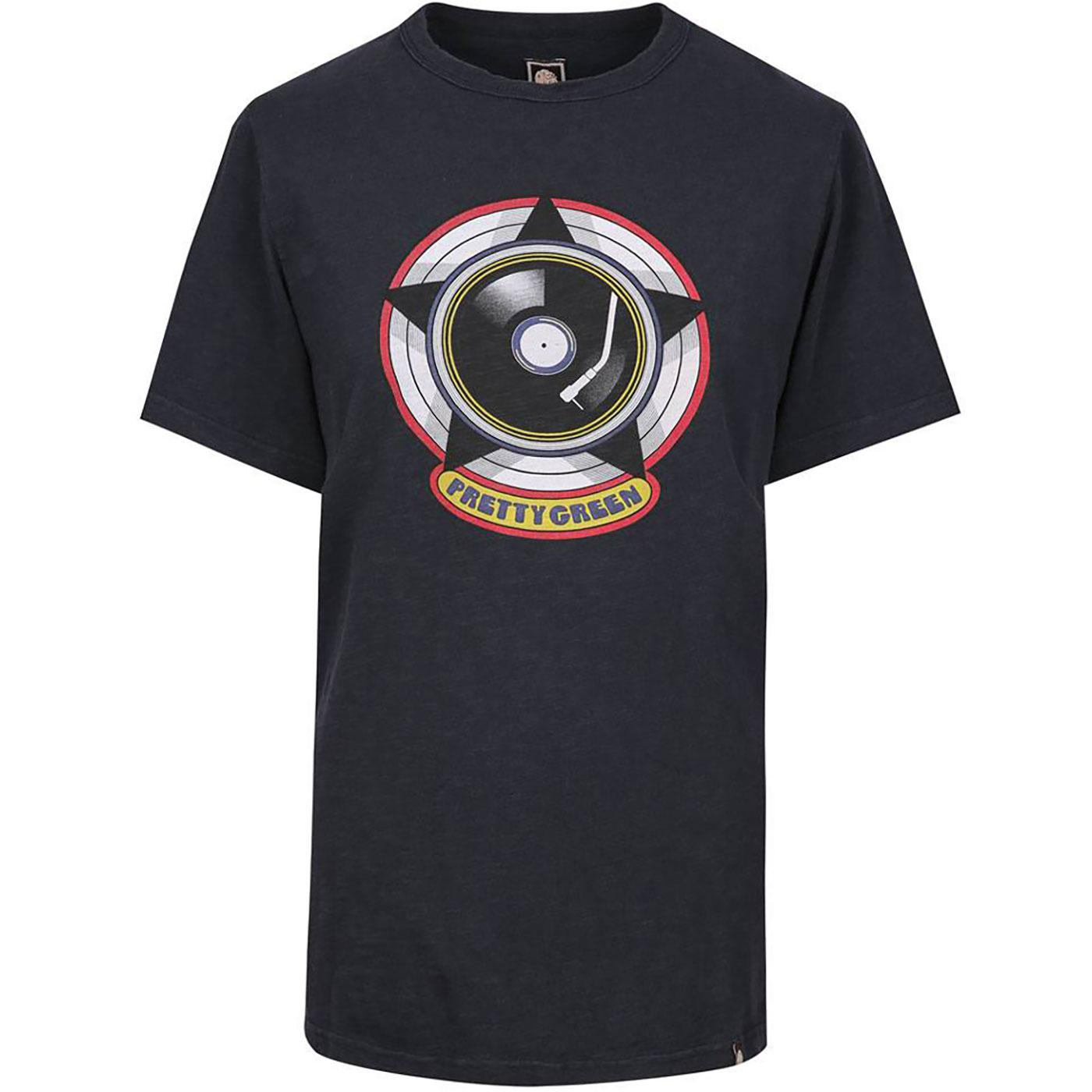 PRETTY GREEN Men's Retro Vinyl Record Logo T-Shirt