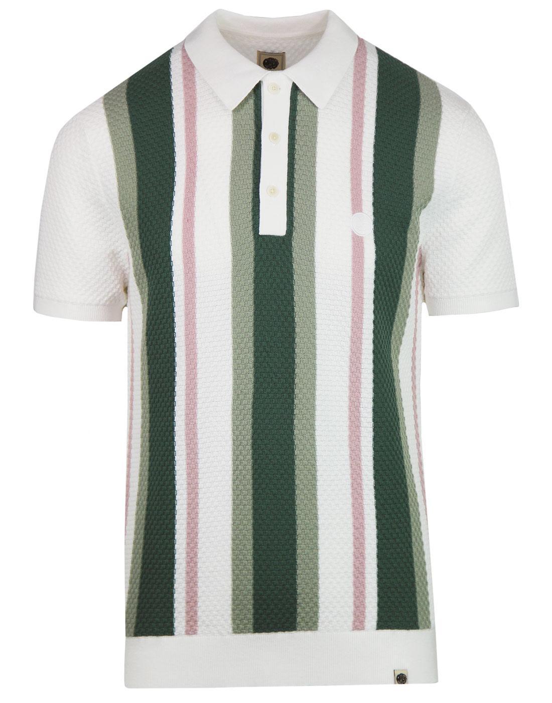 PRETTY GREEN 60s Mod Waffle Stripe Knit Polo WHITE