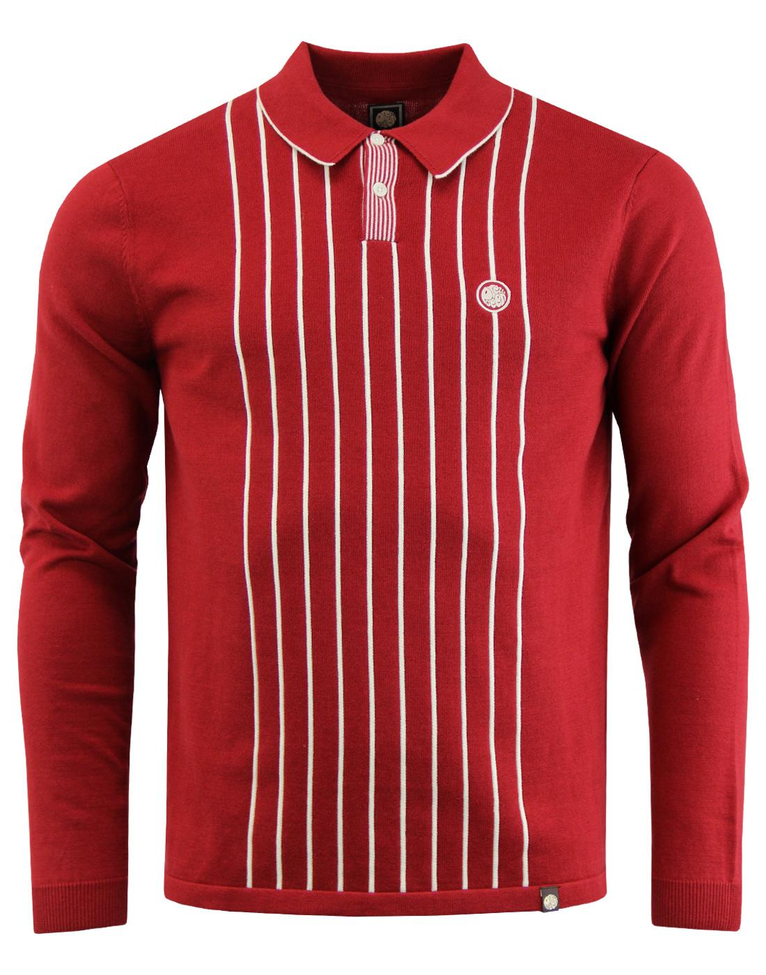 Whittle PRETTY GREEN Mod Stripe Knit Polo Top RED