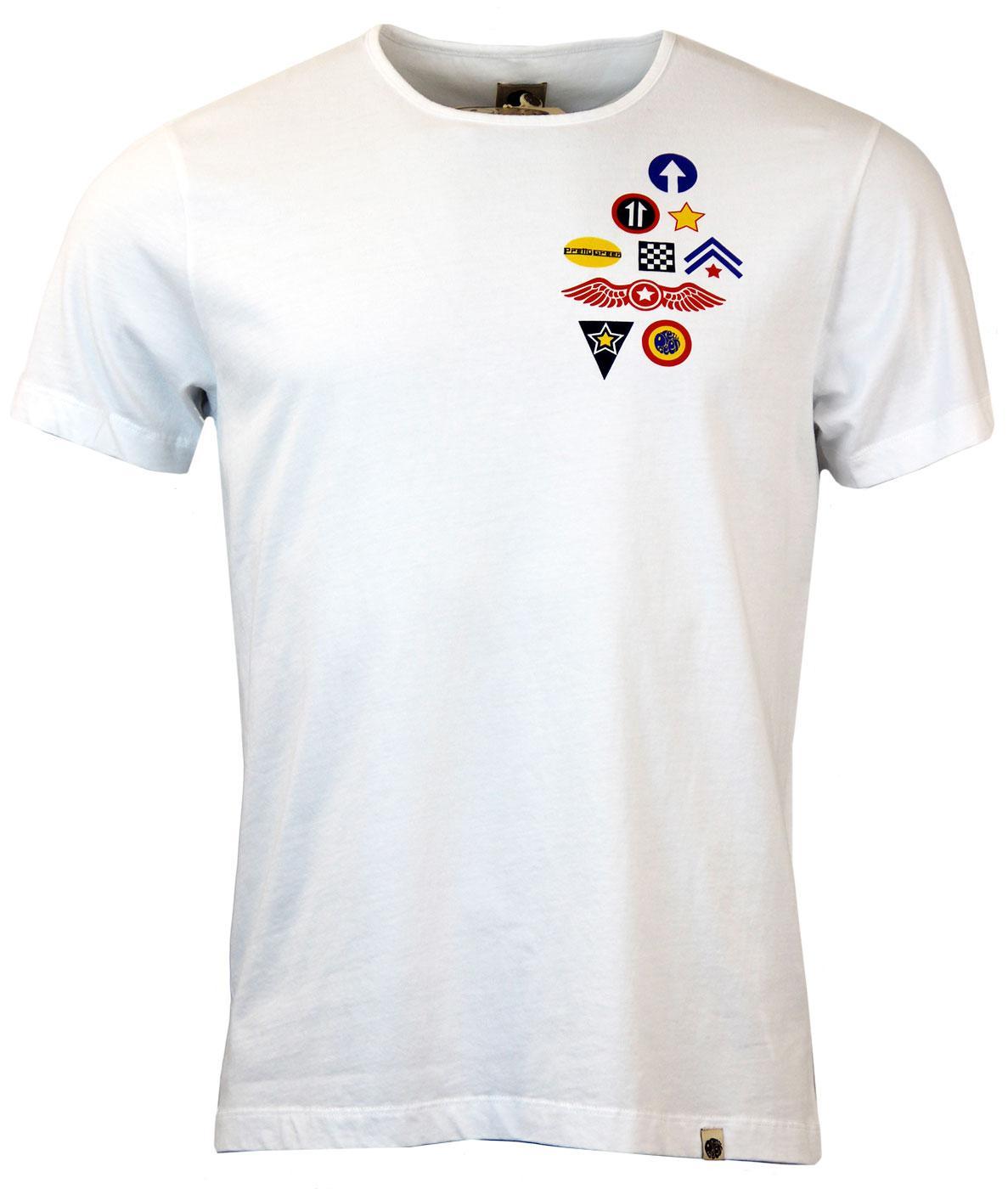 136c42cfb96 PRETTY GREEN Retro Mod 60s Pop Art Badge T-Shirt in White