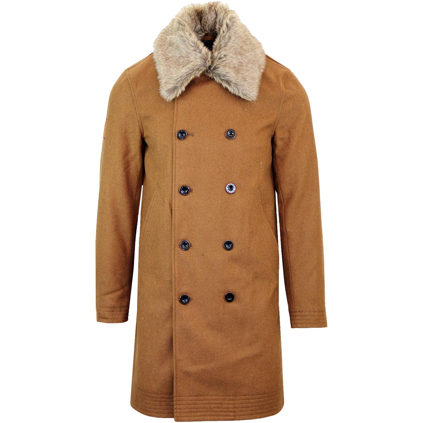PRETTY GREEN Retro Wool Military Trench Coat TAN