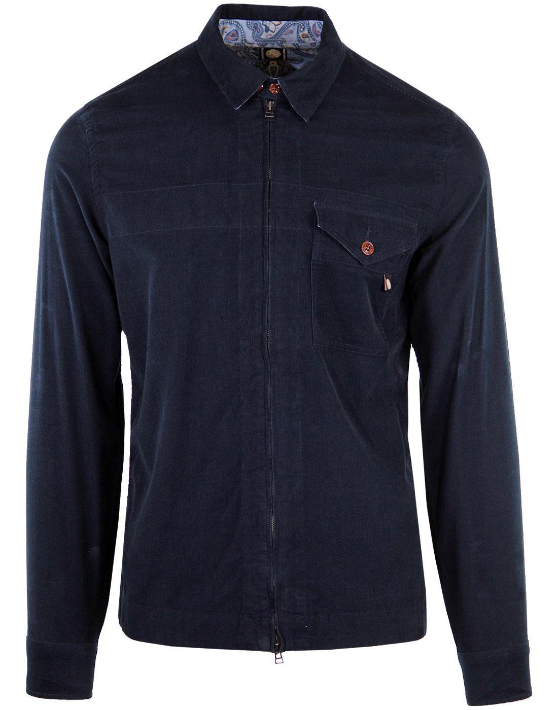 PRETTY GREEN Retro 60's Zip Through Cord Shirt N
