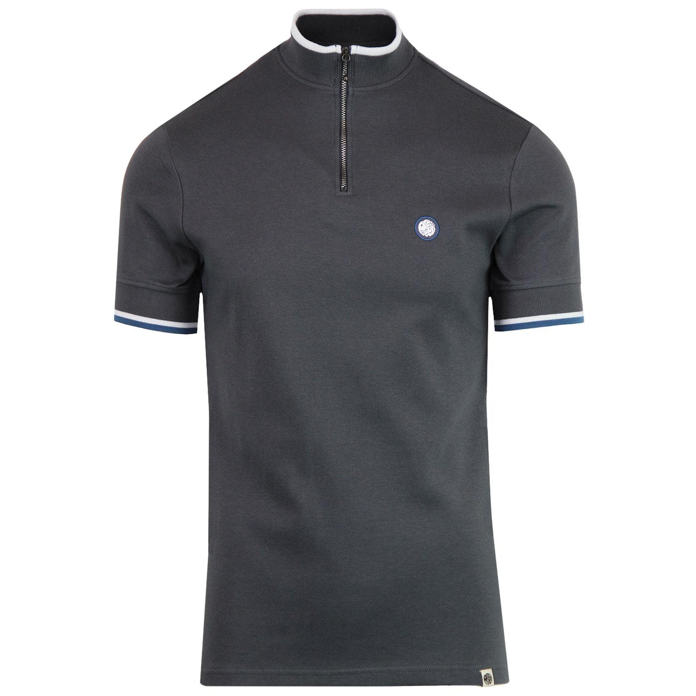PRETTY GREEN Retro Mod Zip Neck Cycling Top (Grey)