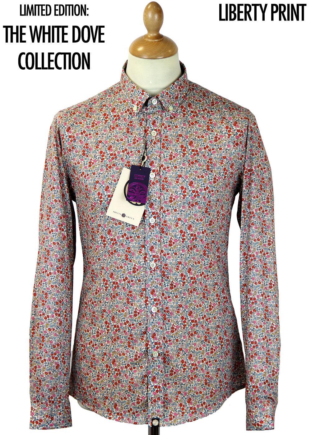 59189f13e72 PRETTY GREEN Retro Mod Camrose Floral Liberty Arts Fabric Shirt