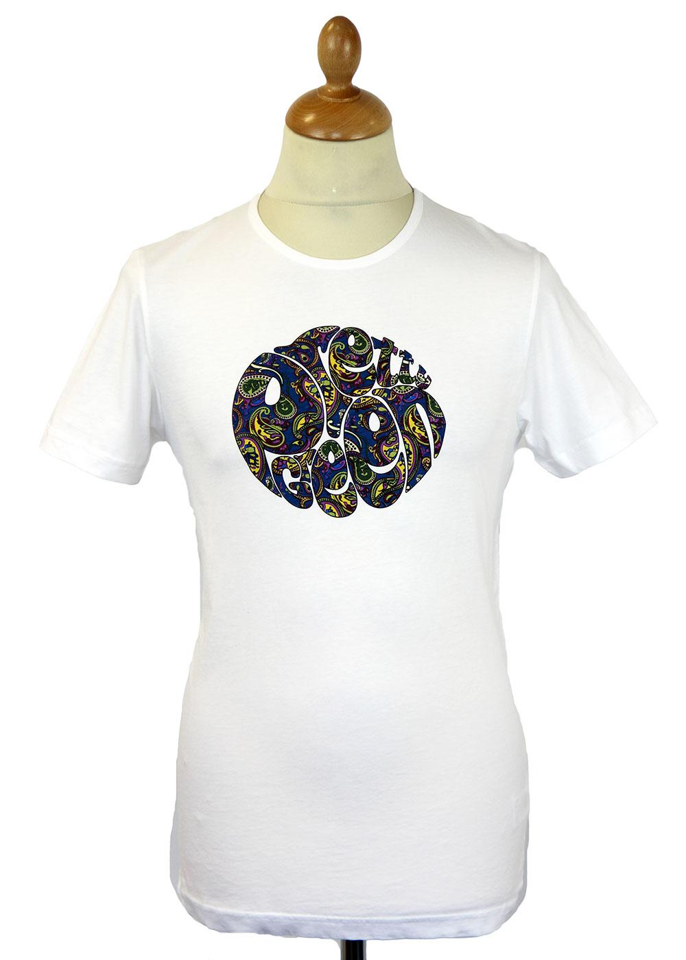 676c9527bc5 PRETTY GREEN Retro 60s Mod Paisley Logo T-shirt in White