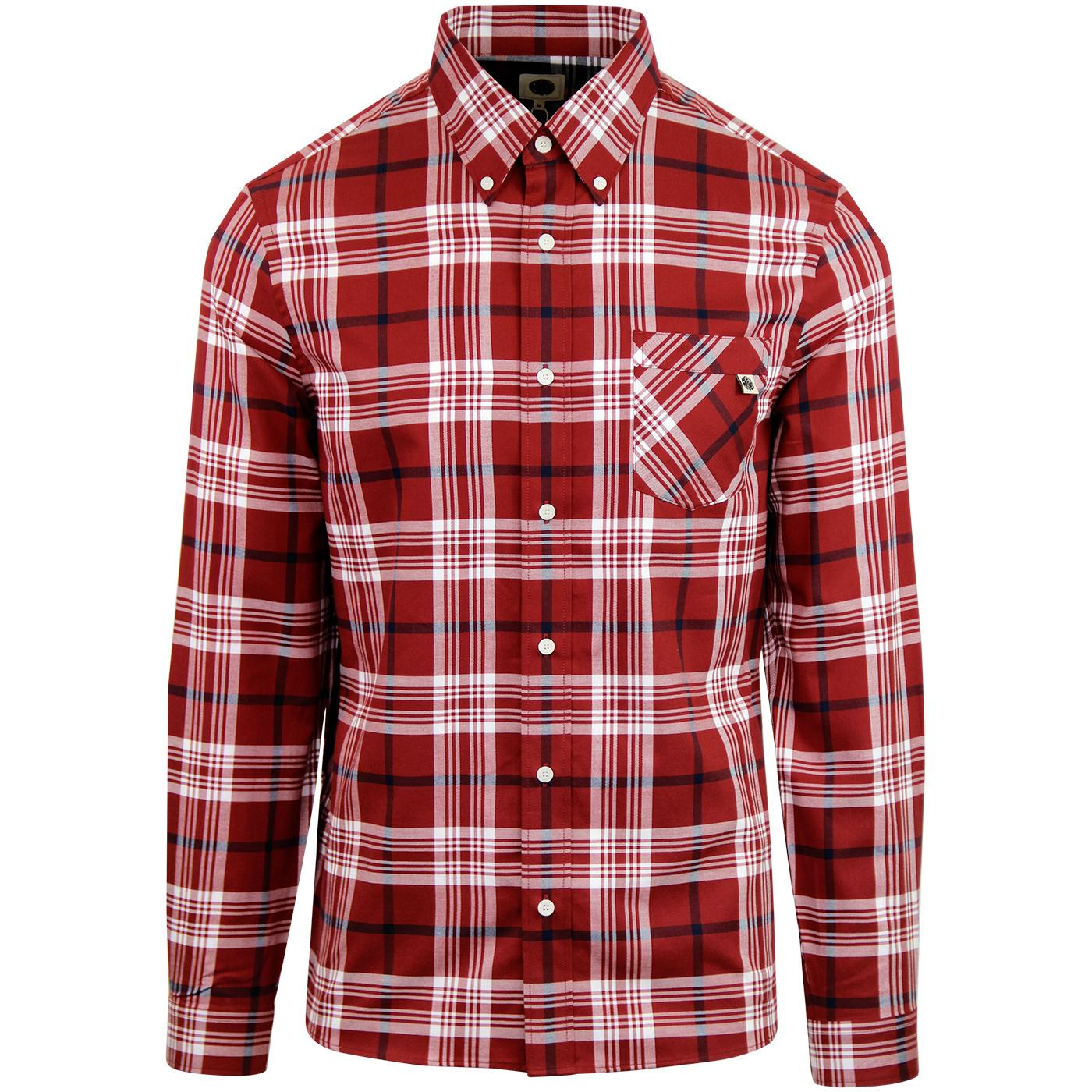 PRETTY GREEN Men's Retro Mod Large Check Shirt RED