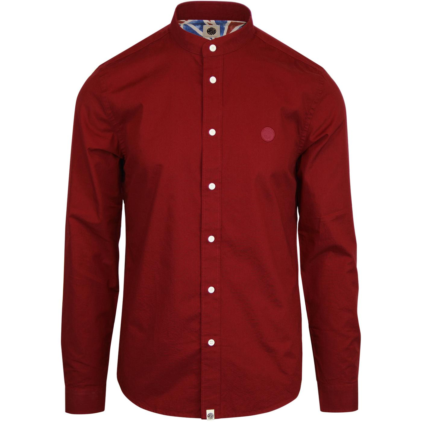 PRETTY GREEN 1960s Mod Grandad Collar Shirt (Red)