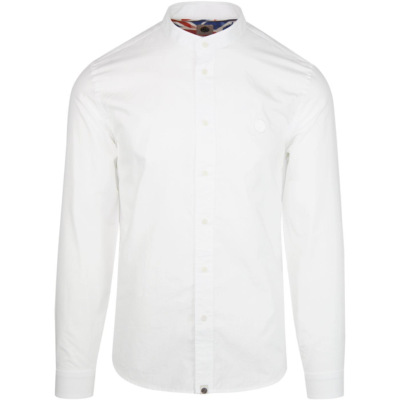 PRETTY GREEN 1960s Mod Grandad Collar Shirt WHITE