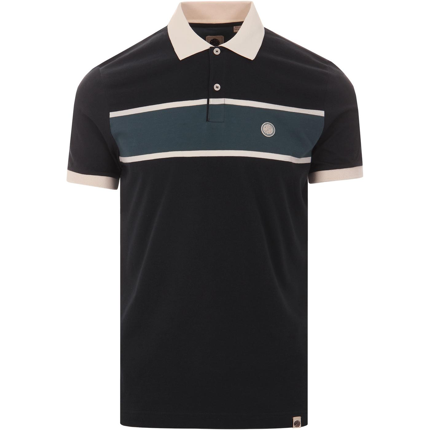 PRETTY GREEN Retro Mod Chest Stripe Polo Top NAVY