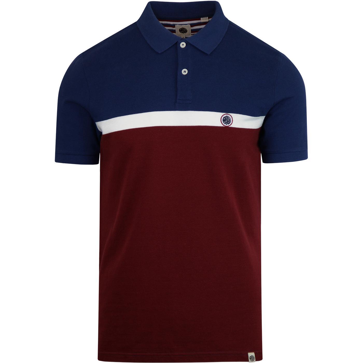 PRETTY GREEN Mod Colour Block Polo Shirt BURGUNDY