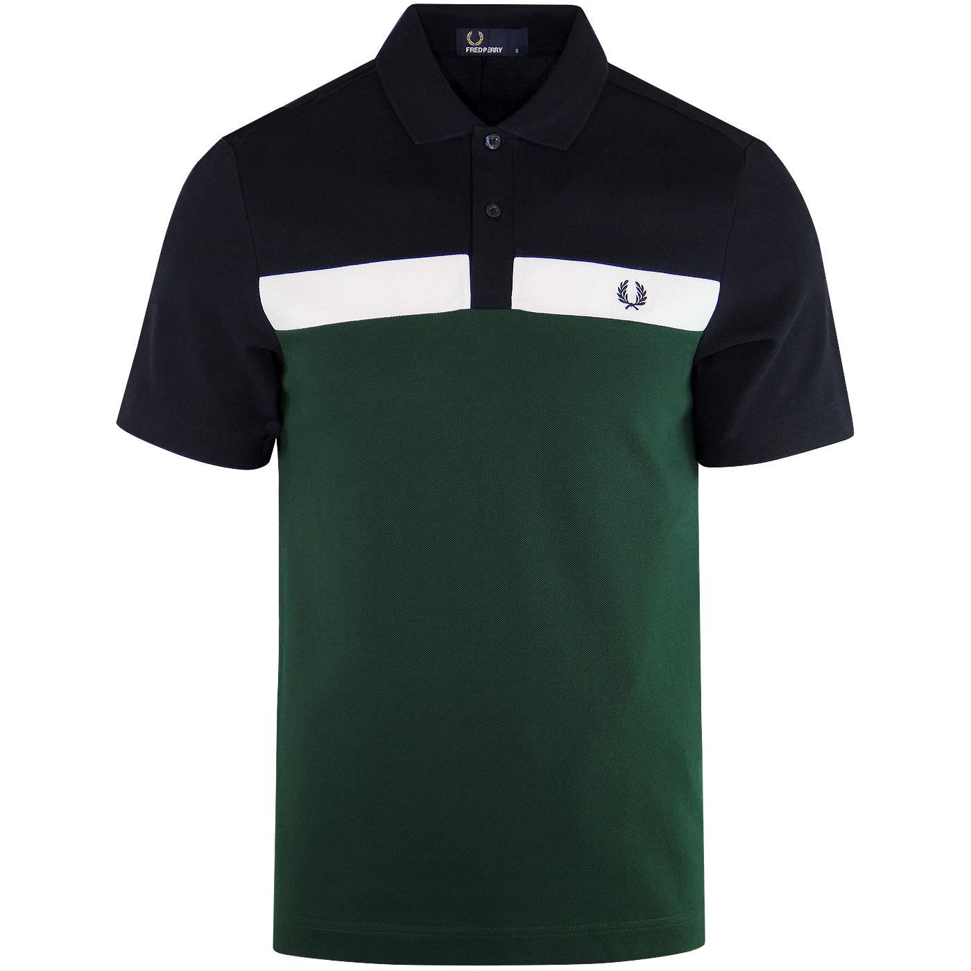 FRED PERRY Mod Contrast Panel Pique Polo Shirt IVY