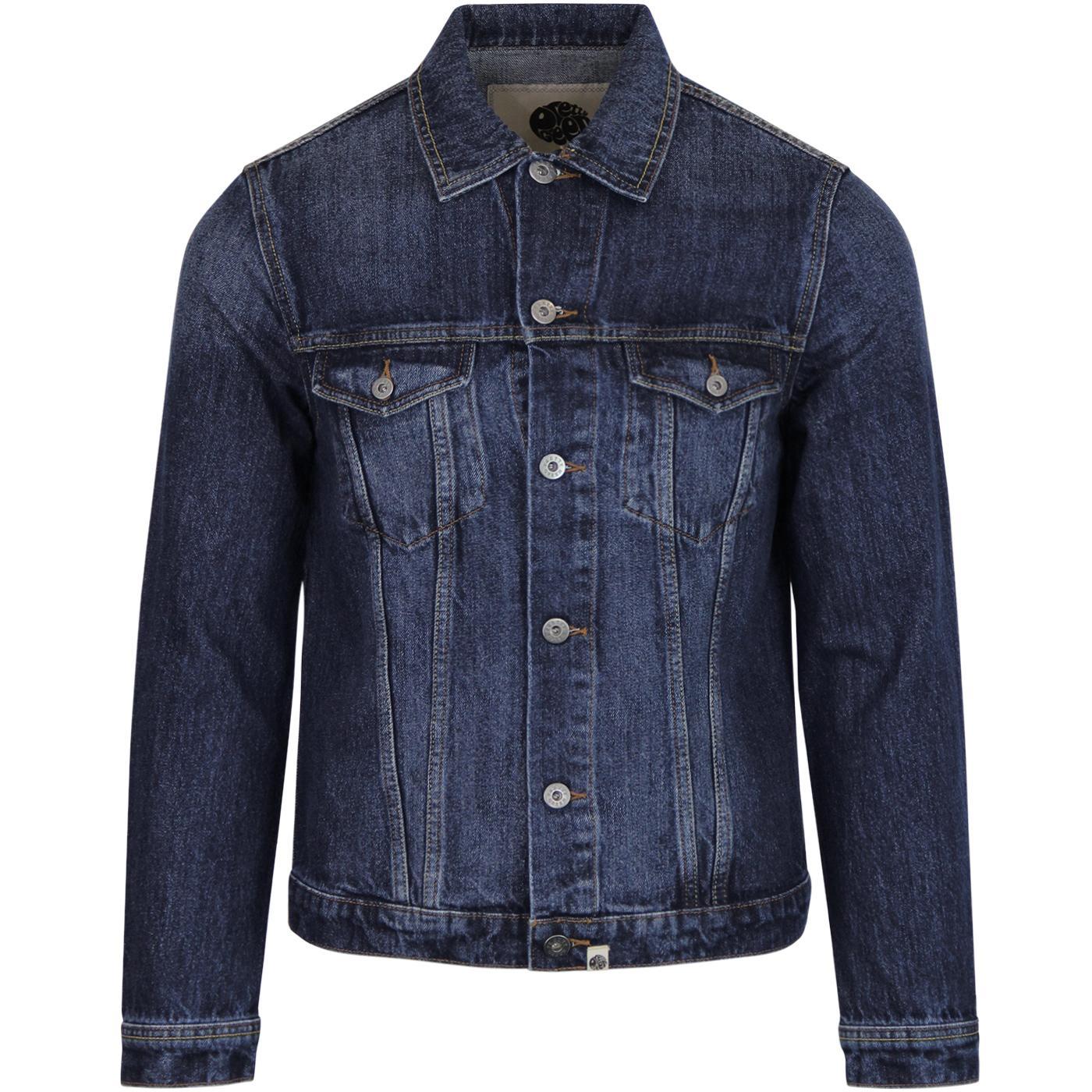 PRETTY GREEN Retro Mod Denim Western Jacket (Blue)
