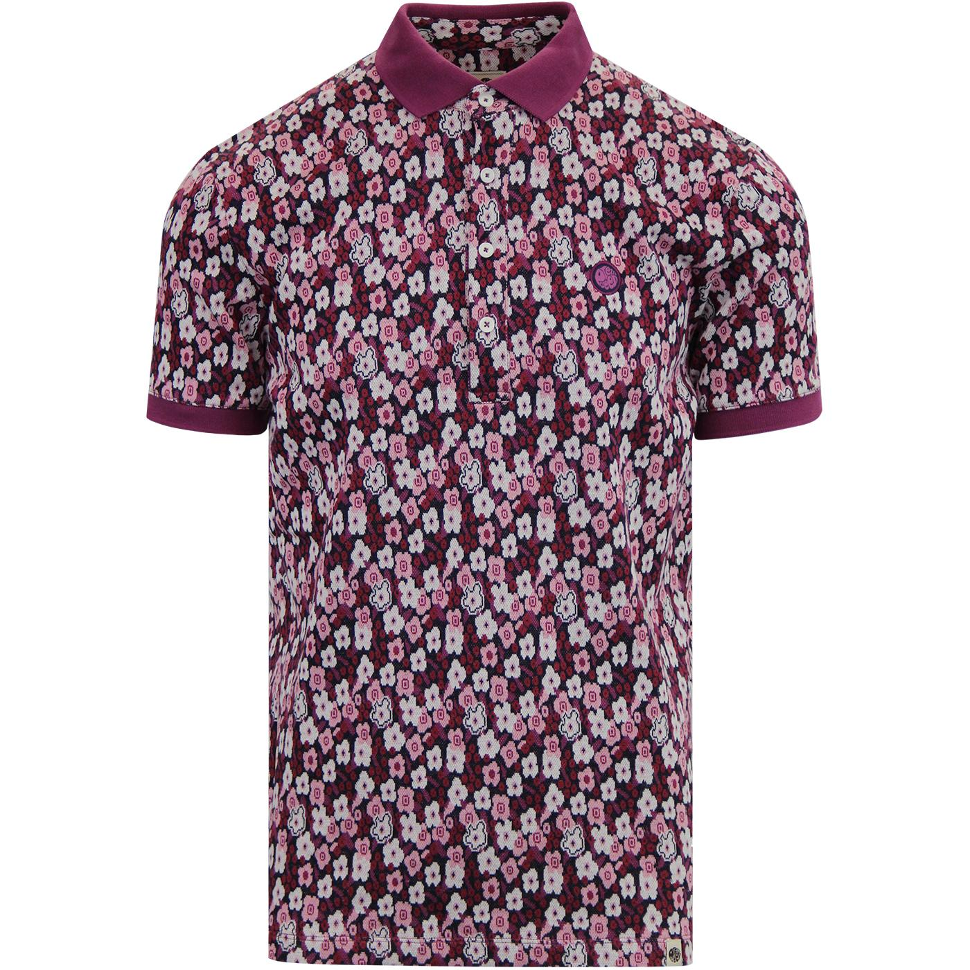 PRETTY GREEN Retro Mod Jacquard Floral Polo Shirt