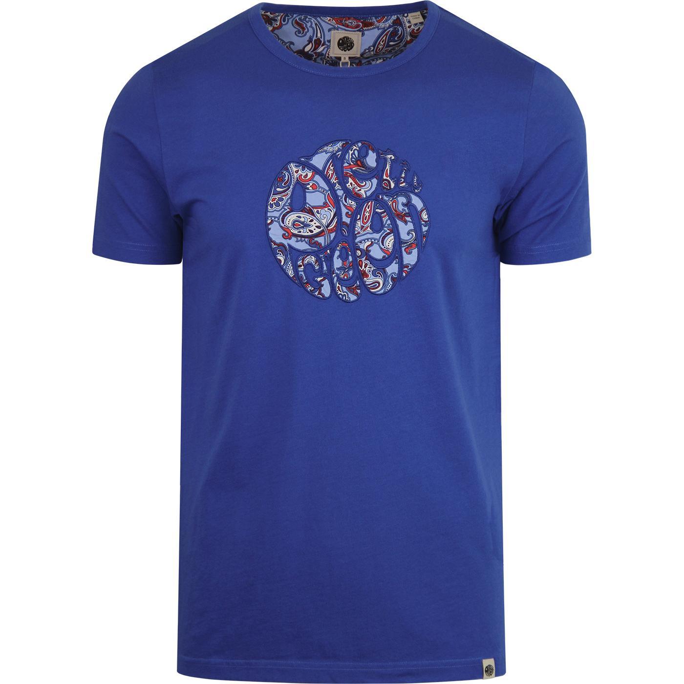 PRETTY GREEN 60s Mod Paisley Applique T-shirt BLUE