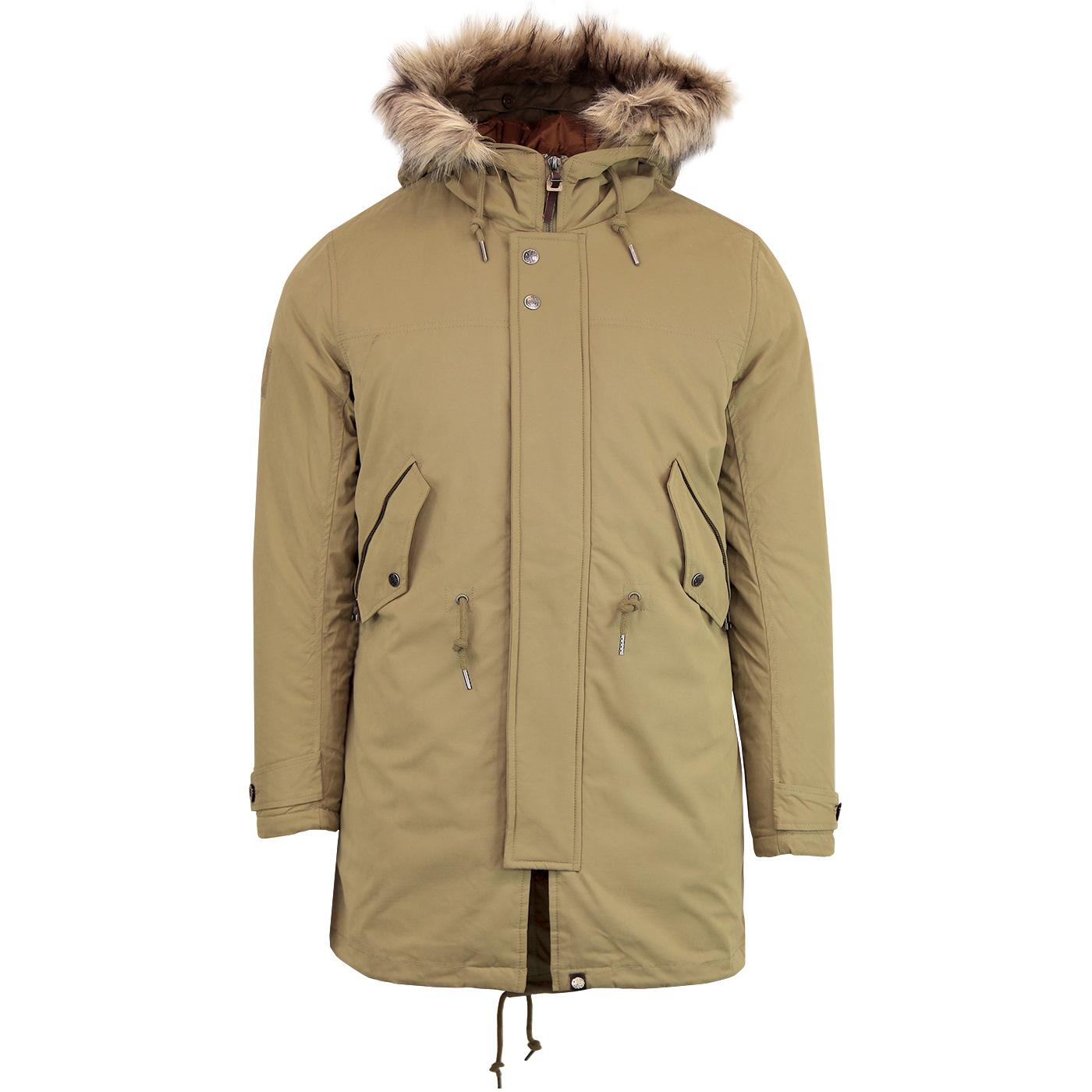 PRETTY GREEN 60s Mod Padded Fishtail Parka - Khaki