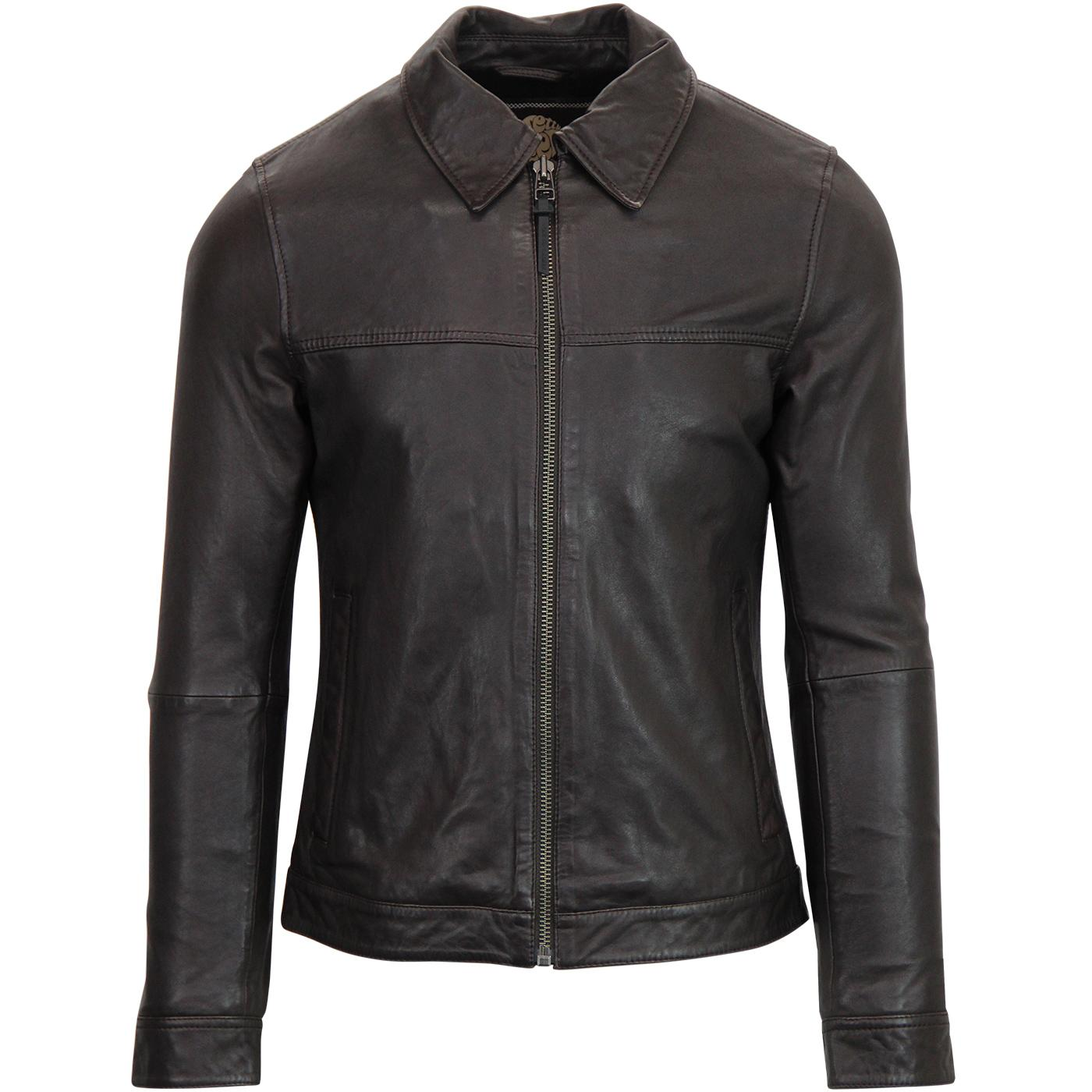 PRETTY GREEN Retro Mod Leather Harrington Jacket
