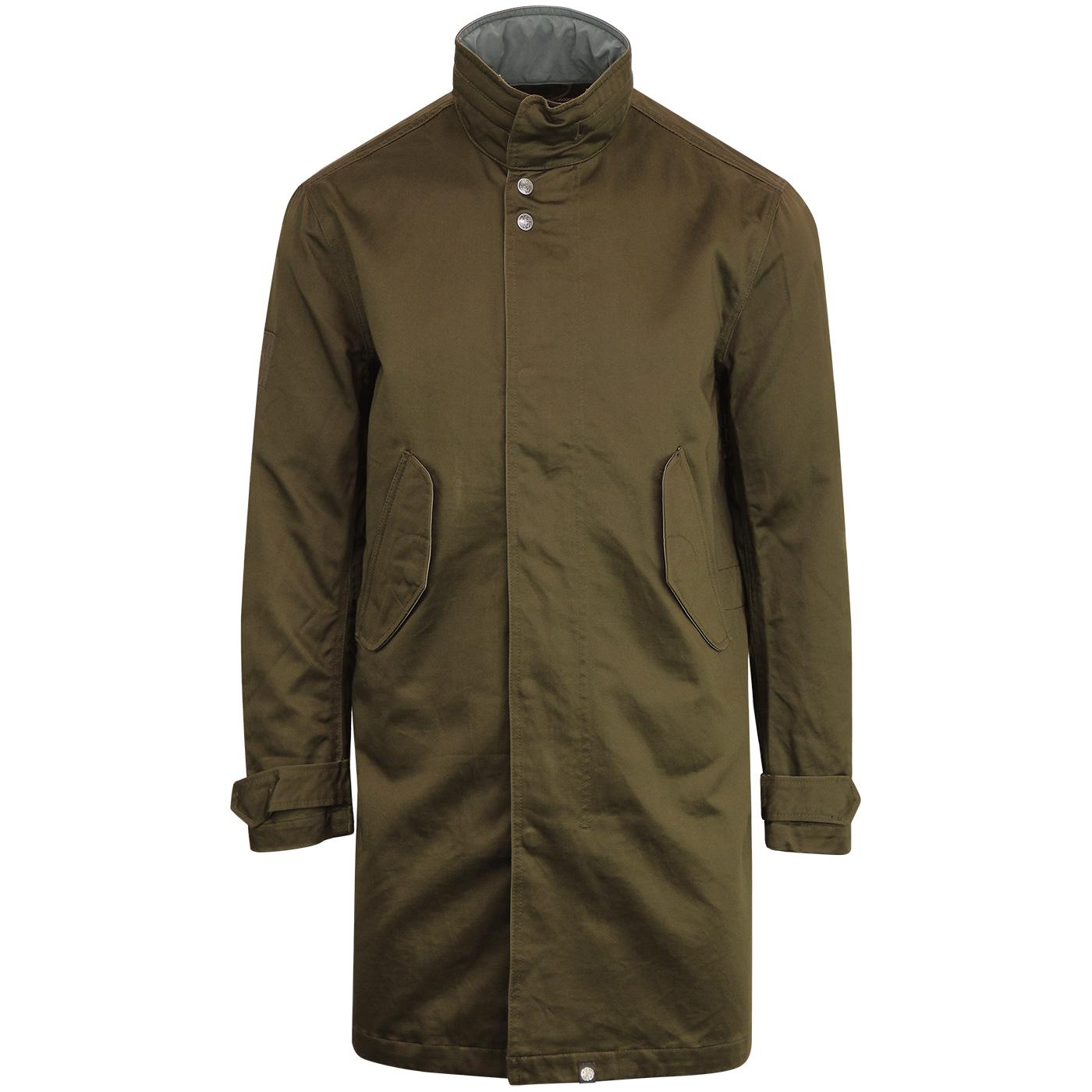 PRETTY GREEN Men's Retro Mod Hooded Mac Coat KHAKI