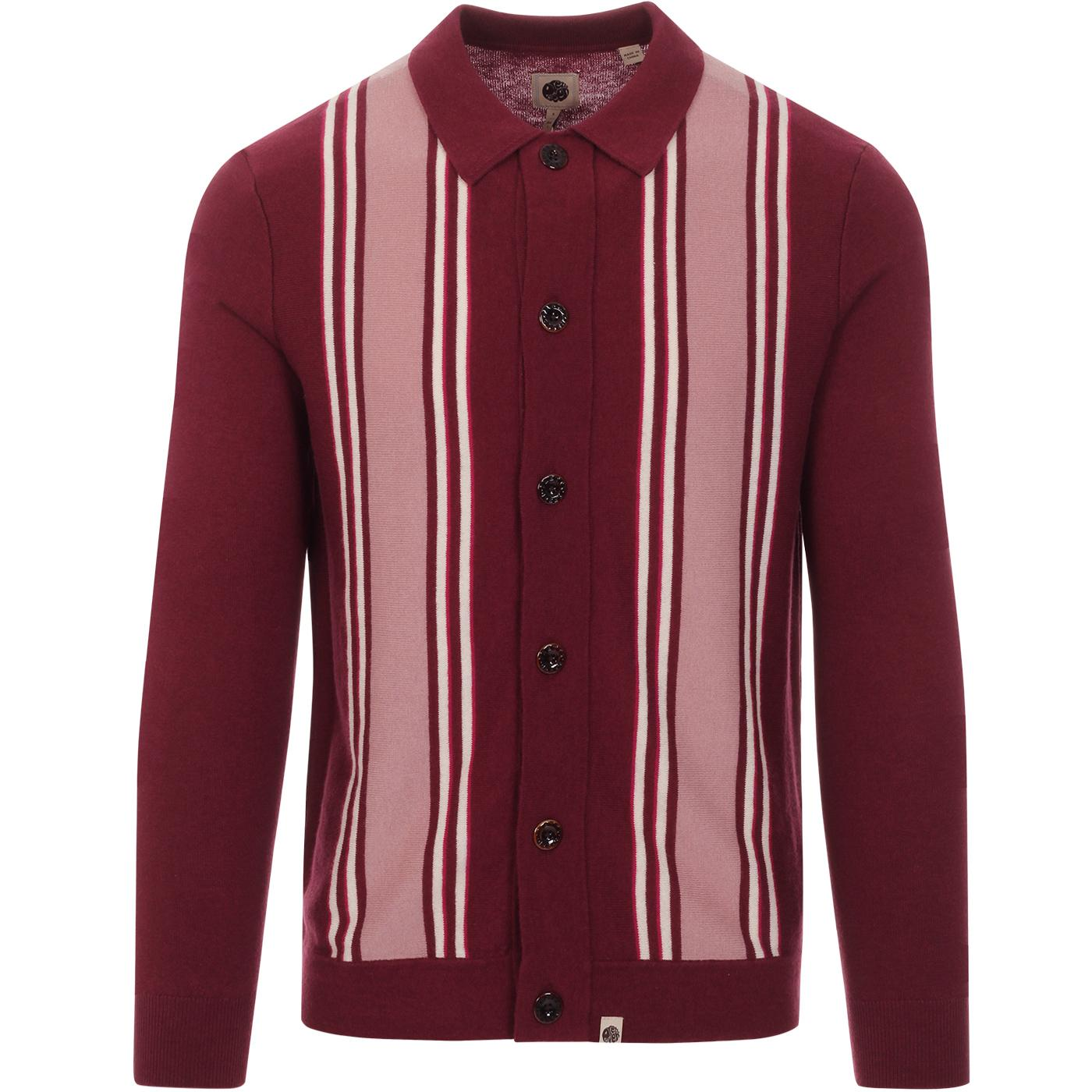 PRETTY GREEN Bingham Mod Stripe Polo Cardigan RED