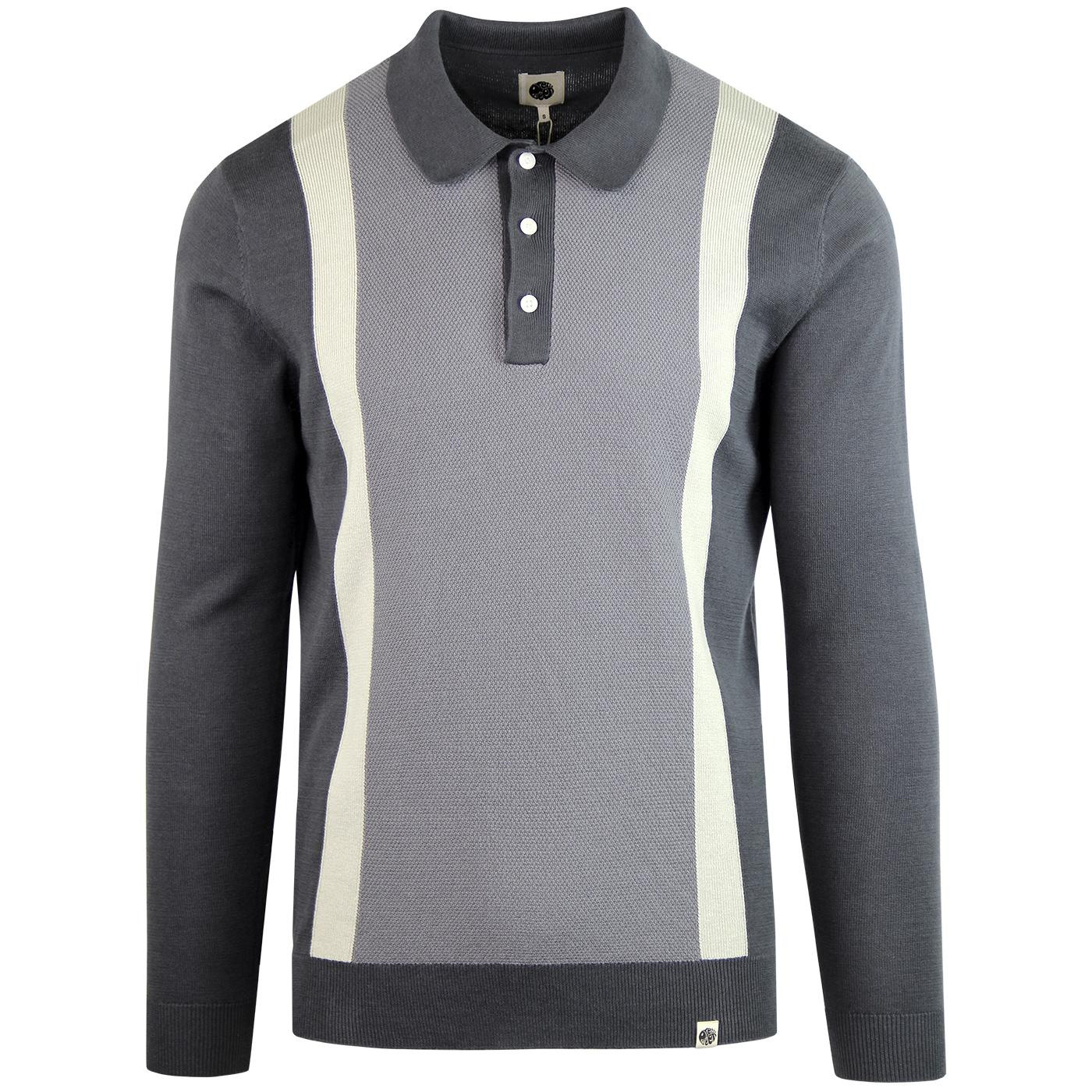 PRETTY GREEN 60s Mod Contrast Stripe Polo Top GREY
