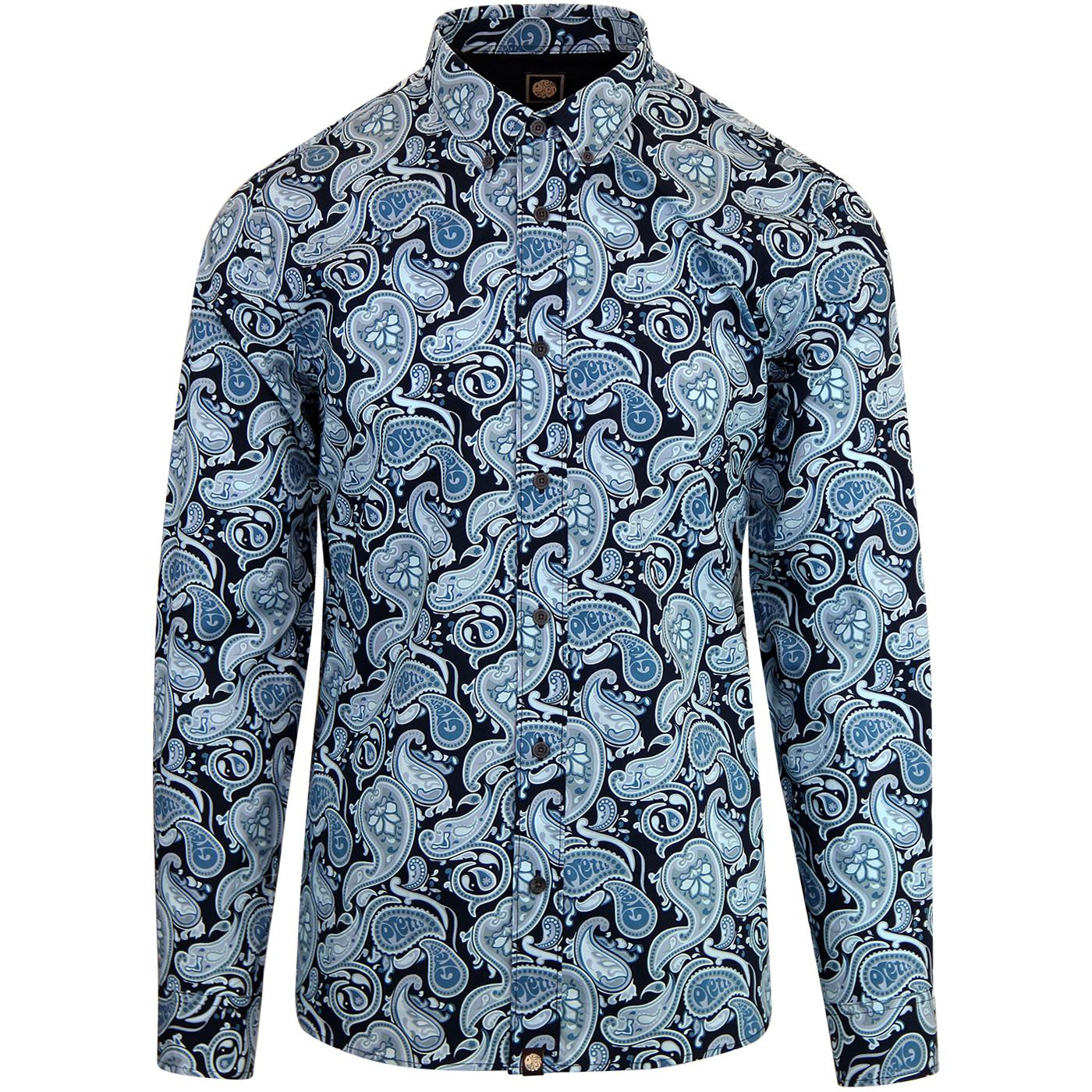 PRETTY GREEN 60s Mod Signature Paisley Shirt NAVY