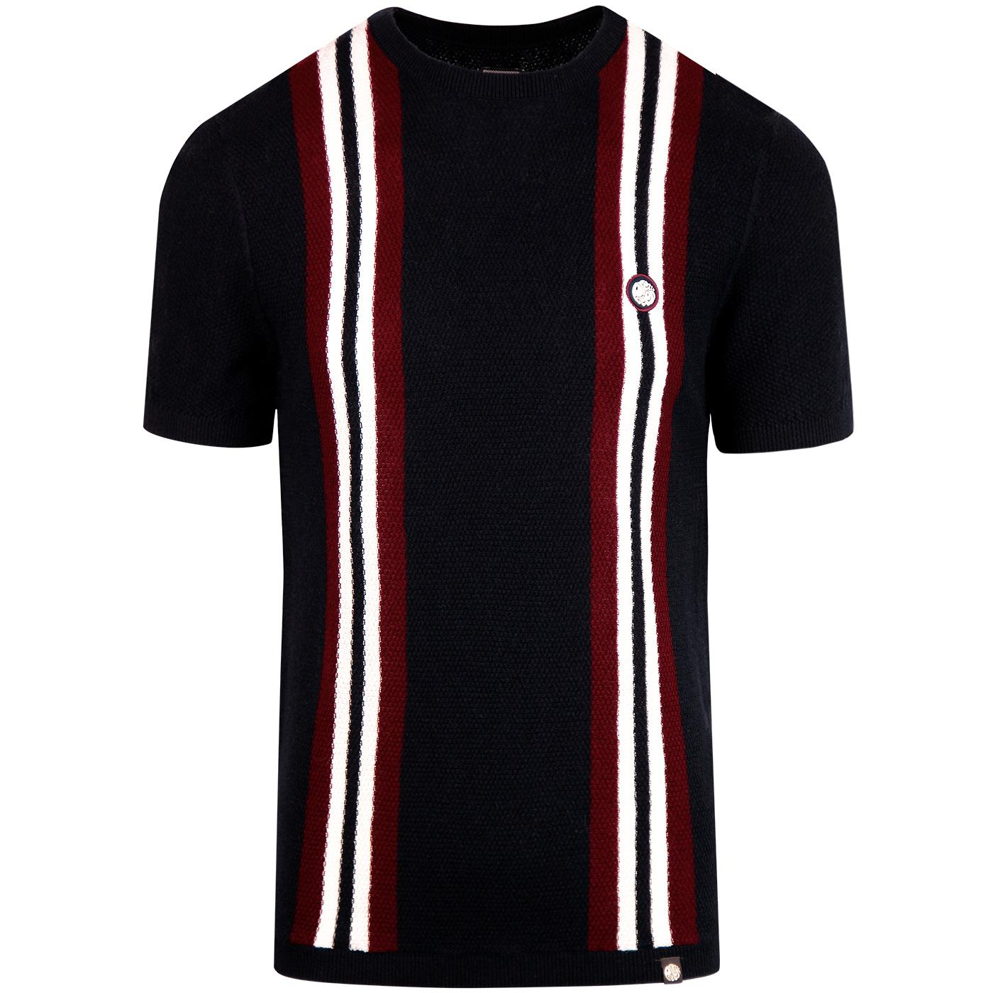PRETTY GREEN 60s Mod Racing Stripe Knit Tee (Navy)