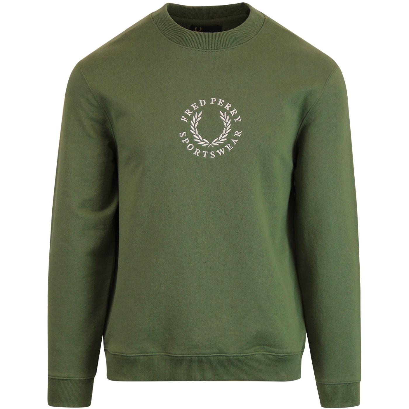 FRED PERRY Mens Retro Crew Neck Branded Sweatshirt