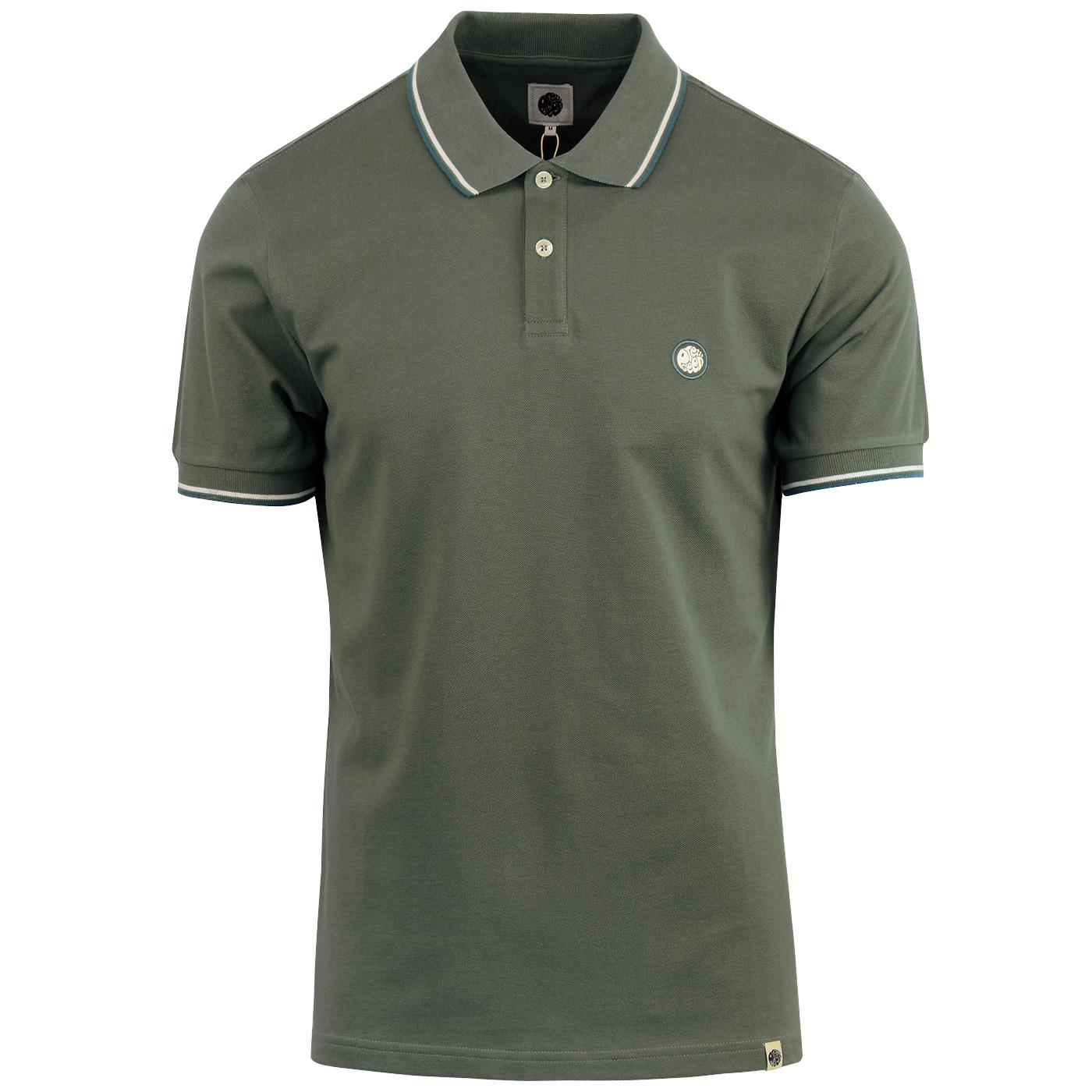 PRETTY GREEN Mod Twin Tipped Pique Polo - Green