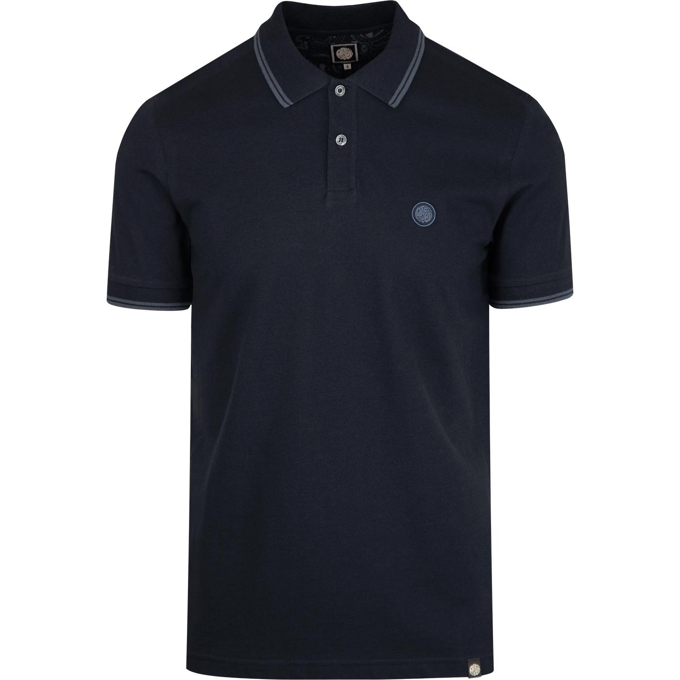PRETTY GREEN Retro Mod Twin Tipped Pique Polo NAVY