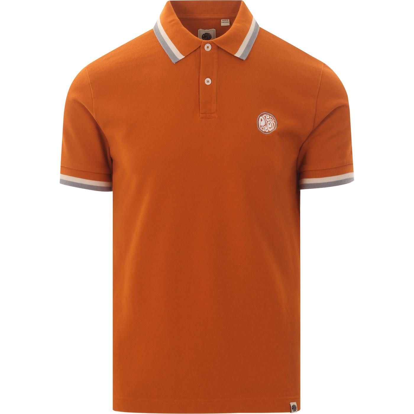 PRETTY GREEN Bold Tipped Mod Badge Polo (Orange)