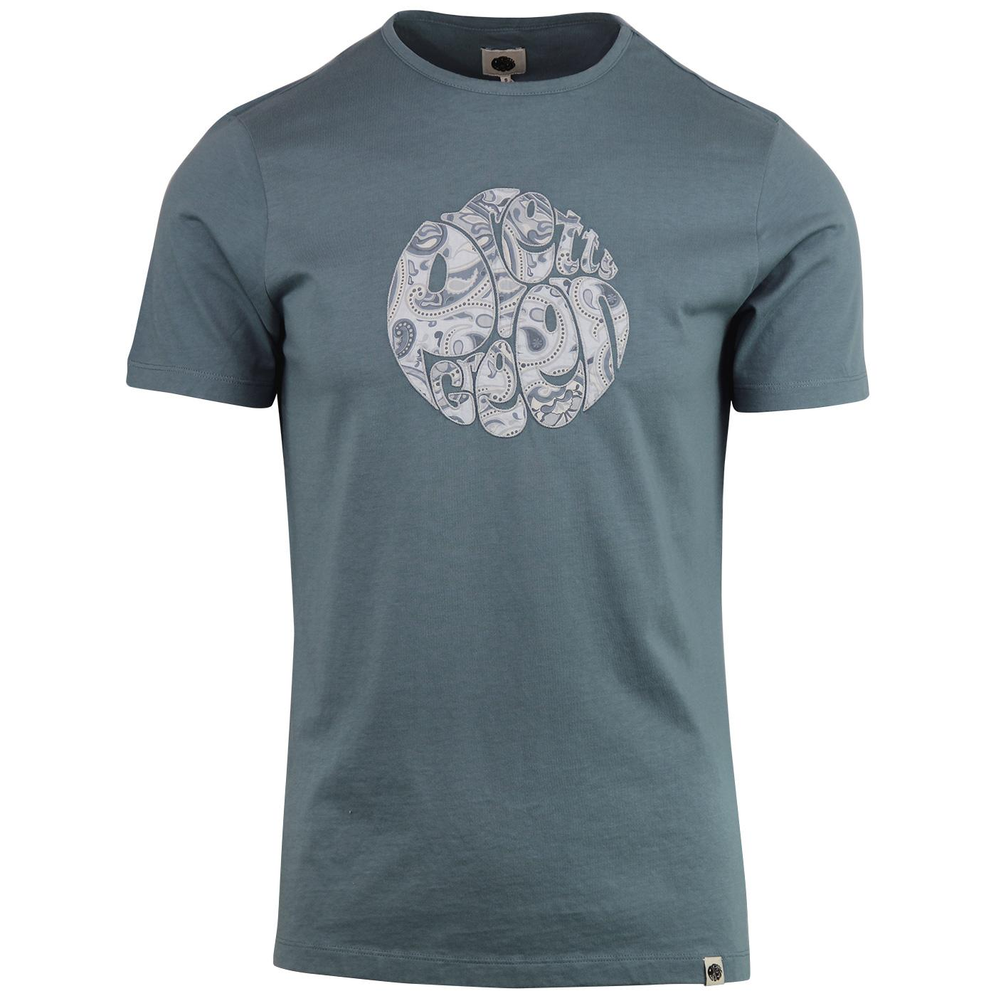 PRETTY GREEN Applique Paisley Logo Print Tee Blue