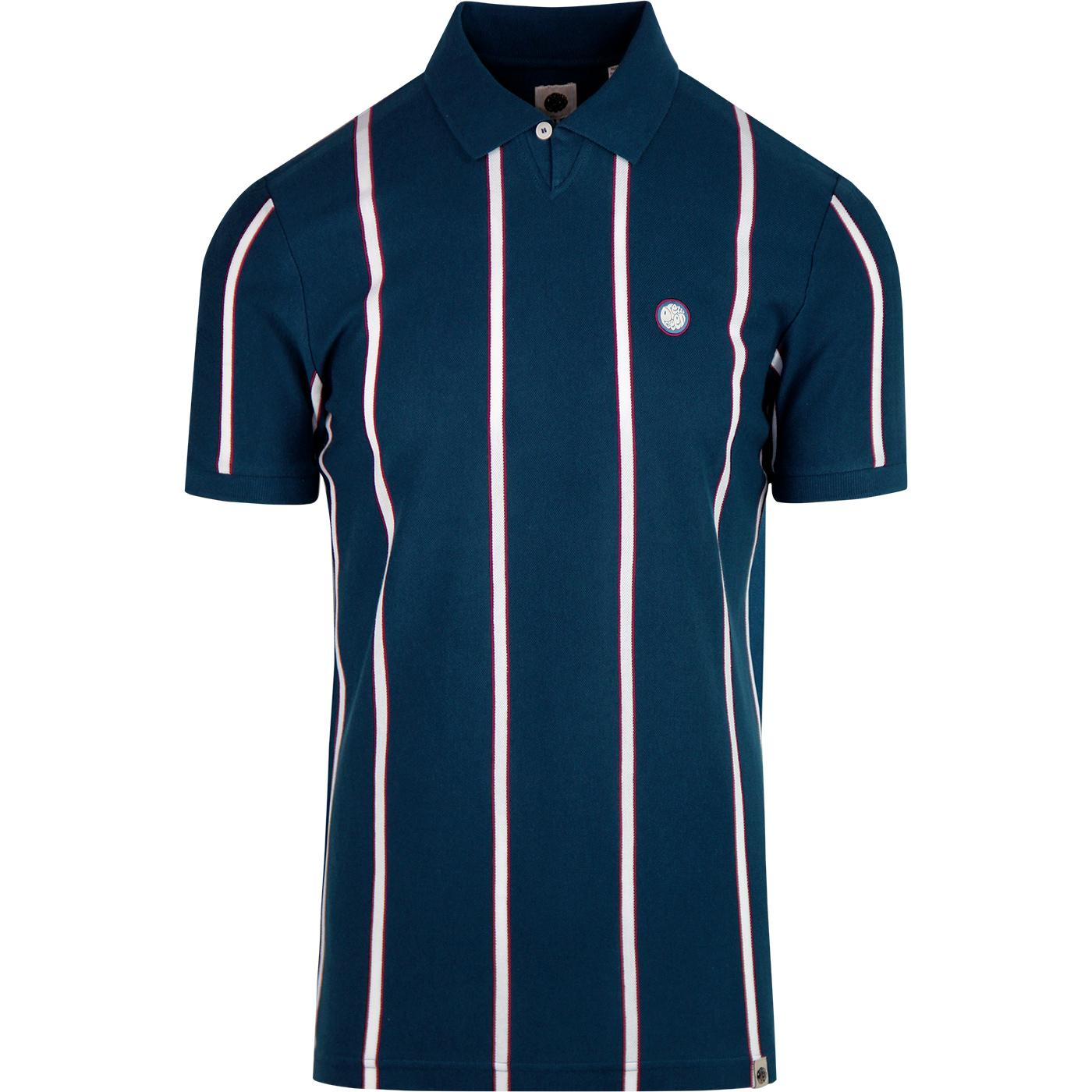PRETTY GREEN Mod Boating Stripe Johnny Collar Polo