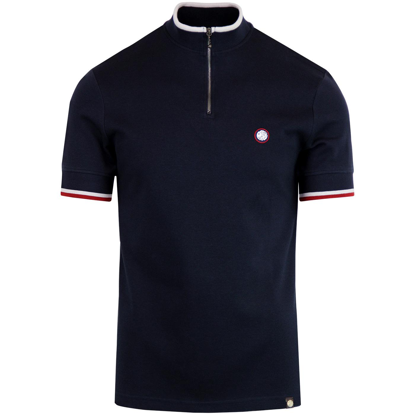 PRETTY GREEN Retro Mod Zip Neck Cycling Top (Navy)