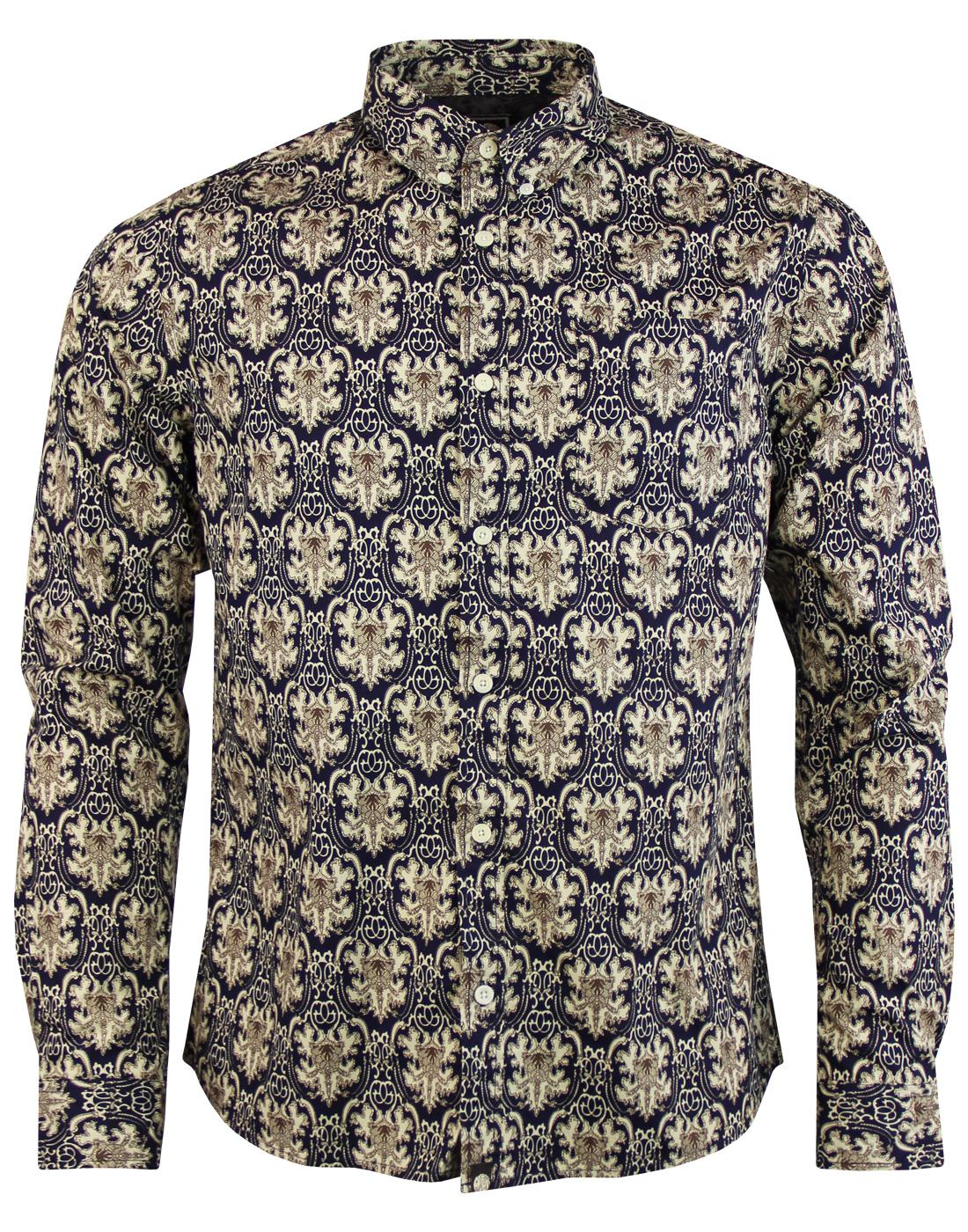 Wardour PRETTY GREEN Mod Abstract Print Shirt (N)