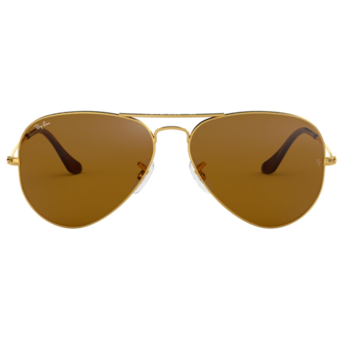 Ray-Ban Aviator Retro Mod Sunglasses in Gold/Brown