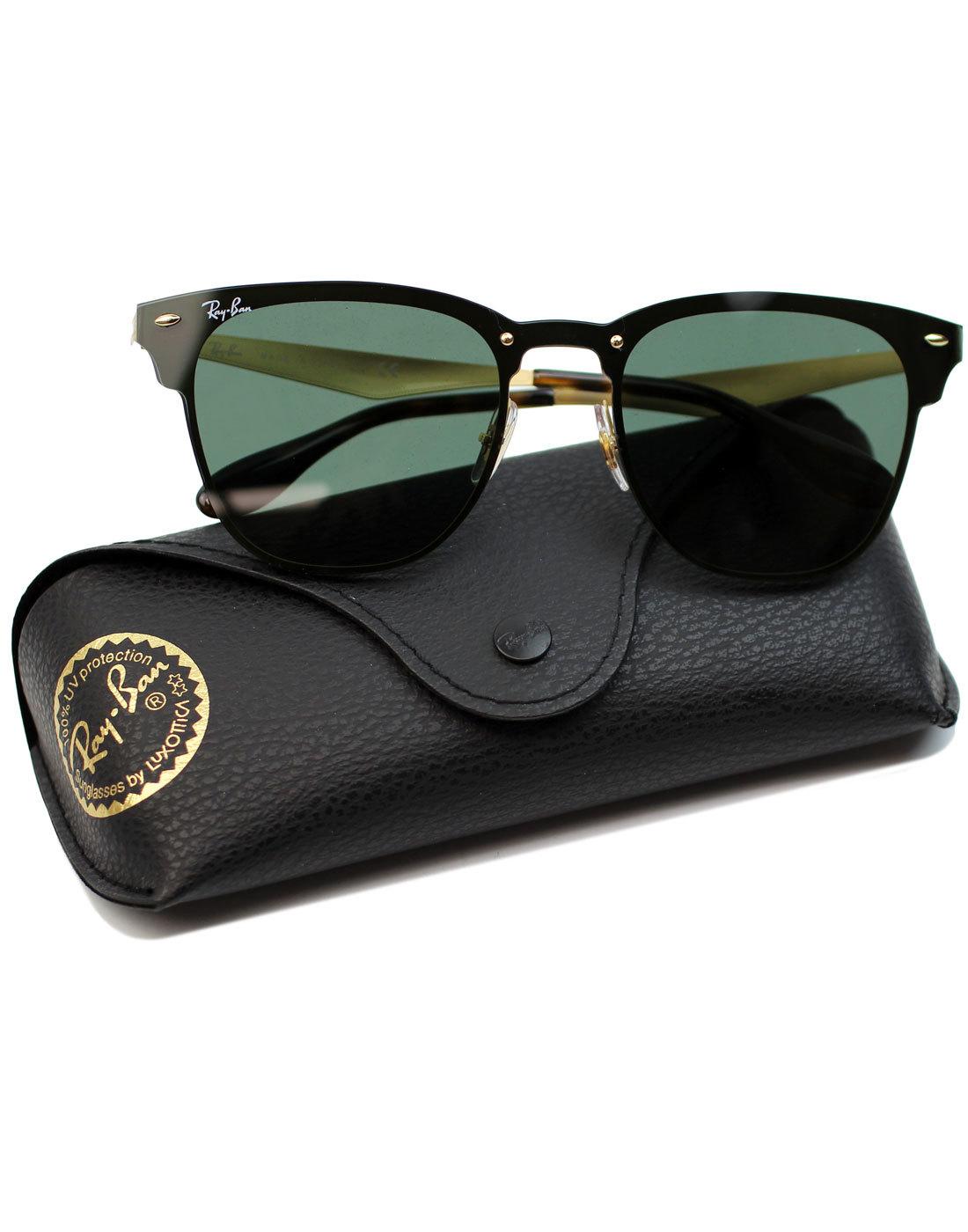 6be3253835 RAY-BAN Blaze Shooter Retro 70s Aviator Sunglasses in Gold Black