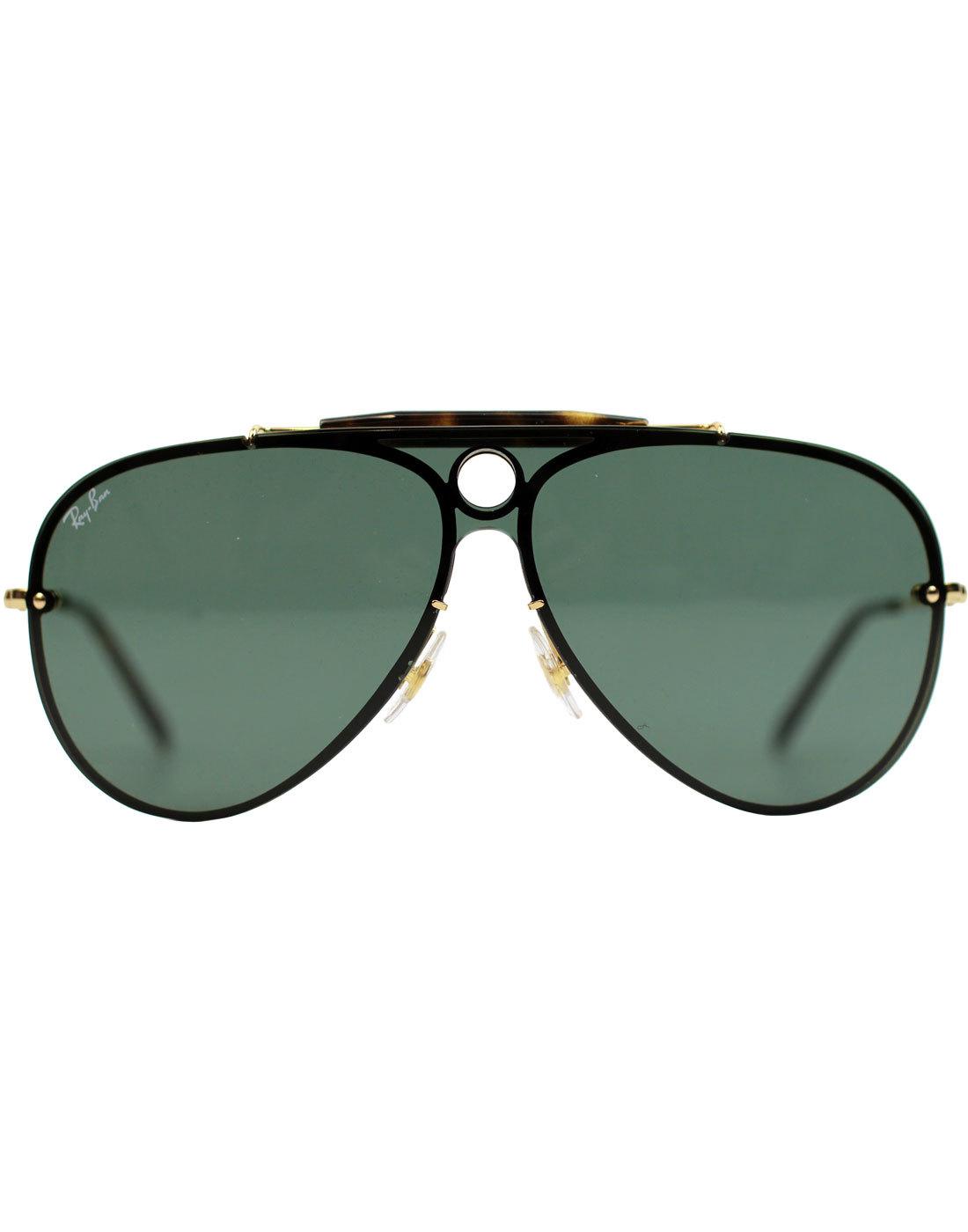 d1d07539c8881d RAY-BAN Blaze Shooter Retro 70s Aviator Sunglasses in Gold Green