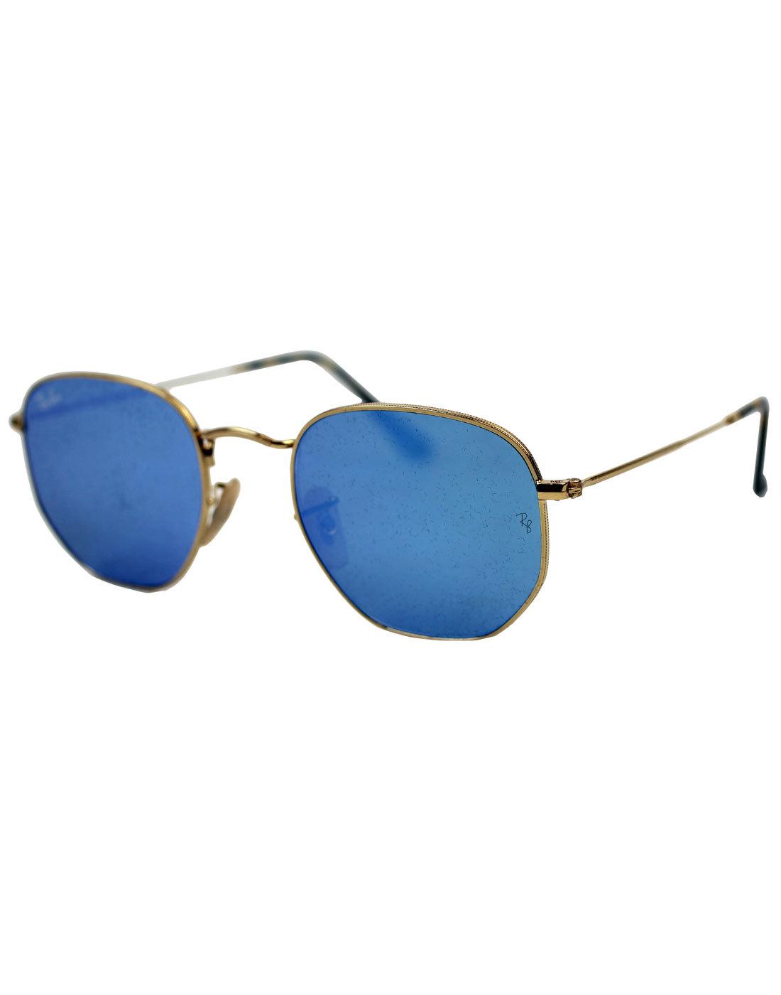 Hexagonal Round RAY-BAN Mod Blue Flash Sunglasses