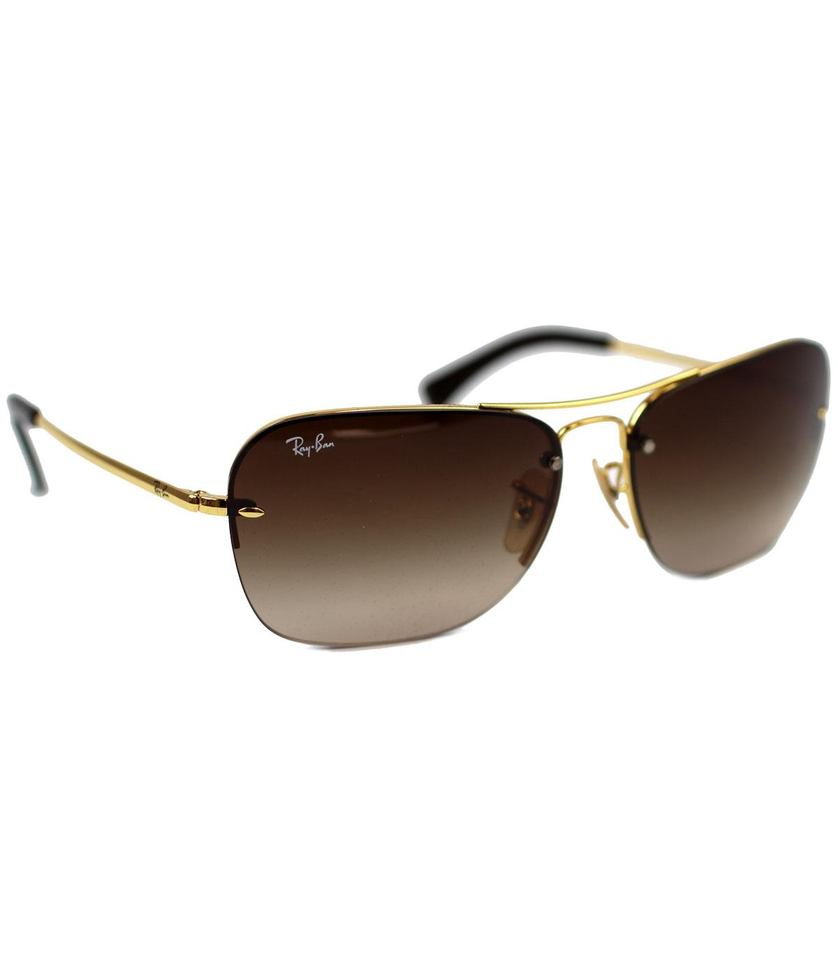 dc874b7978 RAY-BAN Retro 70s Pilot Aviator Sunglasses in Gold Brown