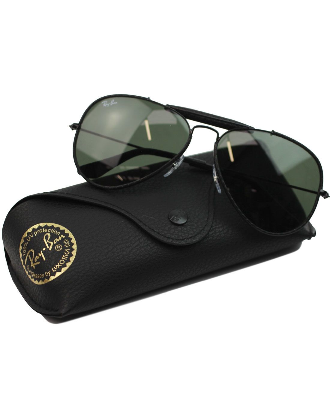 3021140b7b RAY-BAN Outdoorsman Craft Retro 70s Leather Sunglasses in Black