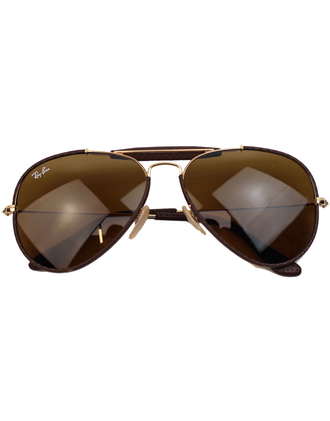 a6ac72cf4 RAY-BAN Outdoorsman Craft Retro 70s Leather Sunglasses in Brown