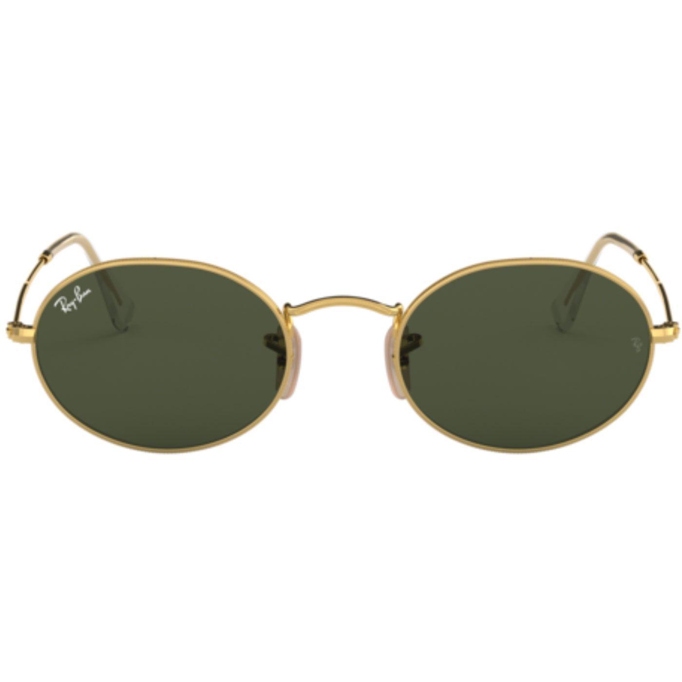 RAY-BAN Oval Retro 60s Mod Sunglasses Gold/Green