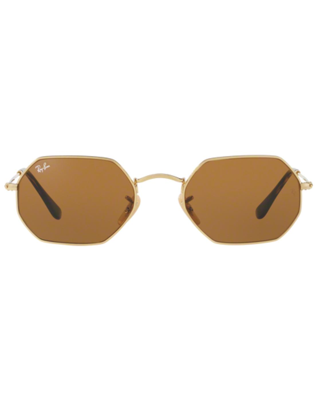 RAY-BAN Retro 60s Octagon Shaped Sunglasses -Brown