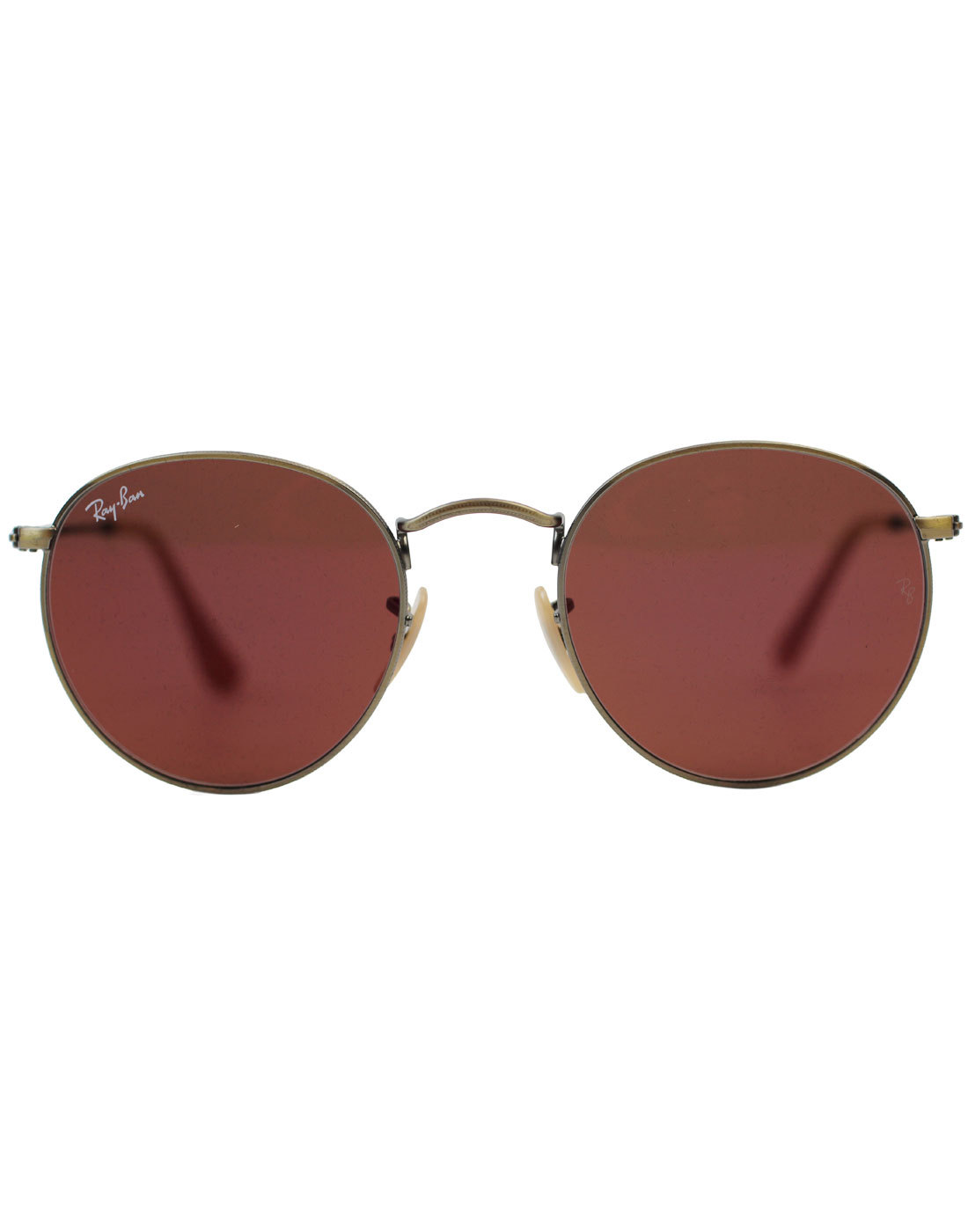 55c8648abd27 RAY-BAN 60s Mod RB3447 Red Mirror Round Sunglasses Brushed Bronze