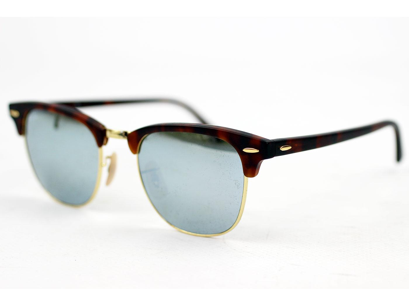 be0f516bdf91 Ray-Ban Clubmaster Retro 50s Mod Mirror Lens Sunglasses Havanna