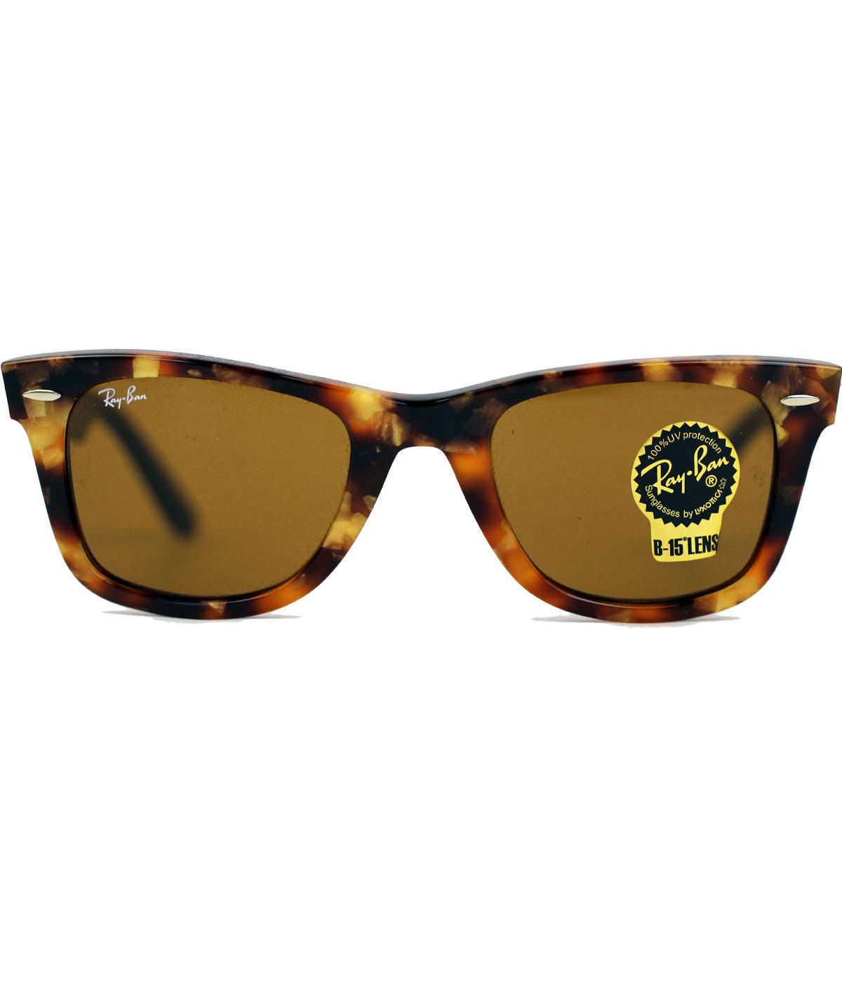 2ca397bd67 RAY-BAN 0RB2140 Retro Spotted Brown Havana Wayfarer Sunglasses